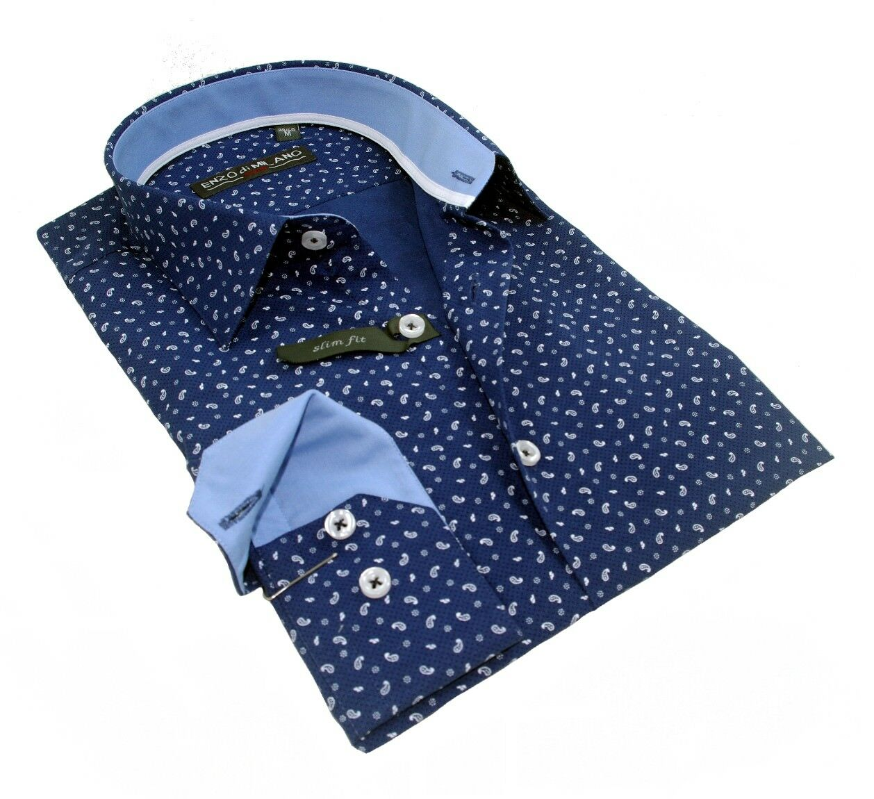 Chemise Homme bleu marine à Italienne motif cintrée Italienne à Enzo Di Milano SlimFit T.L aa01f2