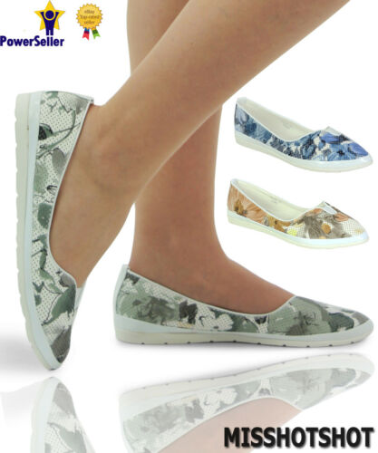 Womens Girls Flat Pumps Dots Leaves Feature Slip On Summer Comfy Fit Foot Shoes