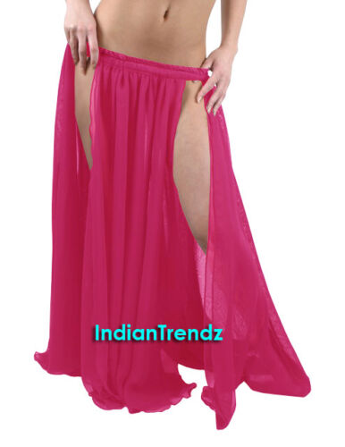 Chiffon 2 Layer 2 Front Slit Skirts Full Circle Belly Dance Tribal Flamenco JUPE