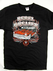 Rebel Greaser Classic Car flames racing black tee men's shirt choose A size
