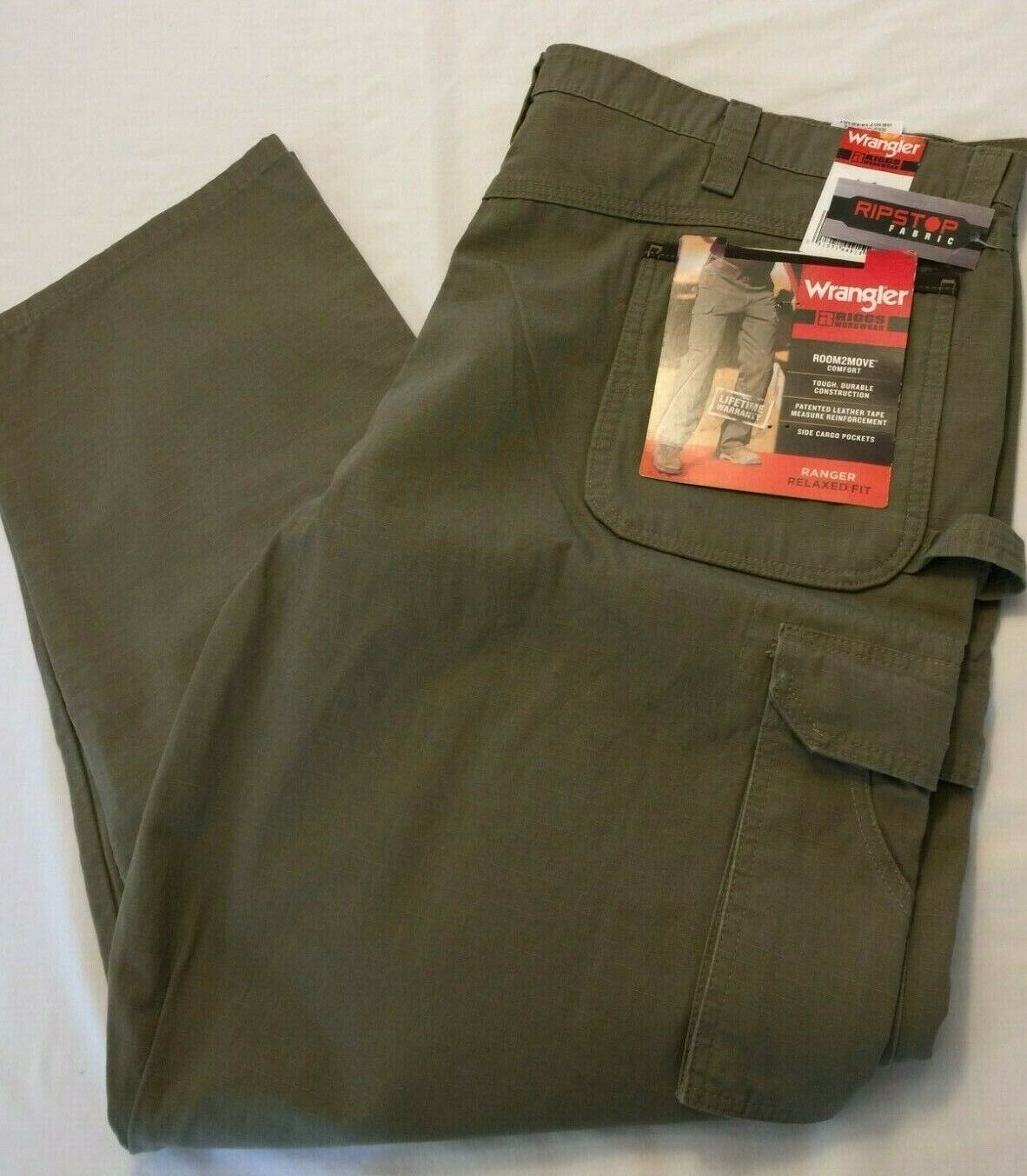 NWT Wrangler Riggs Workwear Ranger Relaxed Fit RipStop Rip-Stop 3W060BR Pants