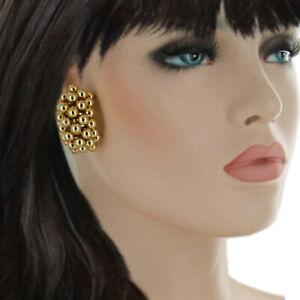 Clip-On-Earrings-Vintage-Large-Shiny-Gold-Tone-Beaded-Hoop-Huggie