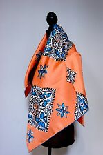 New AUTHENTIC Burberry Prorsum Orange Peach Durham Quilts Silk Square Scarf