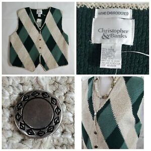 NWT-Christopher-amp-Banks-Women-039-s-Size-L-Sweater-Vest-Hand-Embroidered-Knit-Stripe