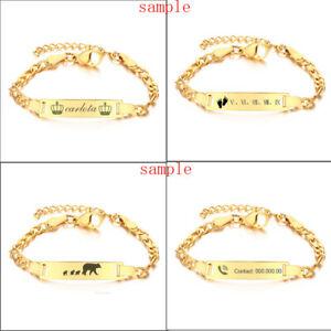 Newborn Baby Kid ID Name Bracelet Chain Personalize Birthday Gift Free Engraving