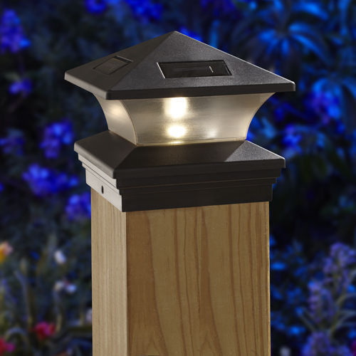 Moonrays Woods ONE 6x6 SOLAR POST CAP LIGHT BLACK 91268 fence and deck posts