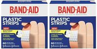 2 Pack Band-aid Adhesive Bandages Plastic All One Size, 60 Sterile Bandages Each