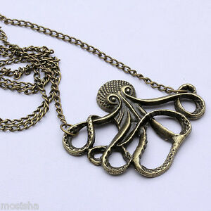 Vintage-Bronze-Octopus-Pendant-Long-Sweater-Chain-Necklace-Animal-Retro-Hot-Gift