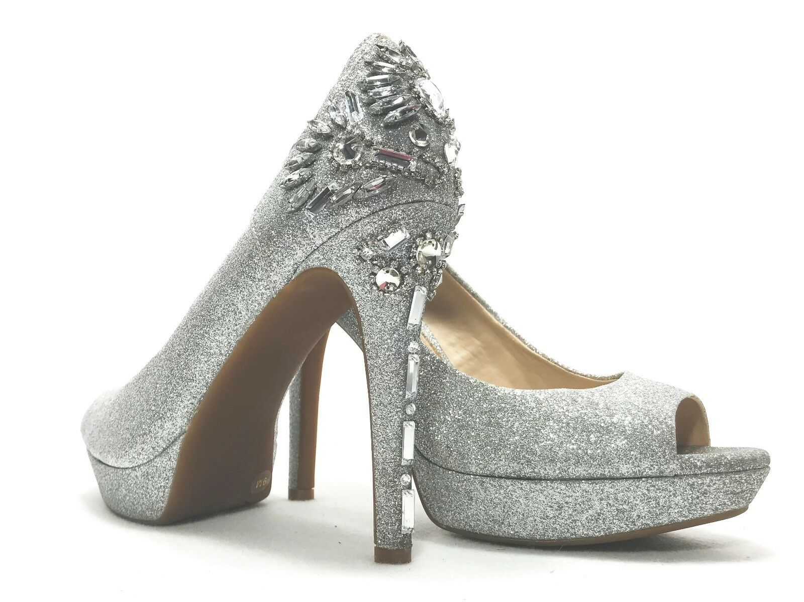 Gianni Bini para para para mujer Tacones plata Glitter Enjoyado Peep Agujero Zapato Boda Baile de Graduación Talla 9  Envio gratis en todas las ordenes