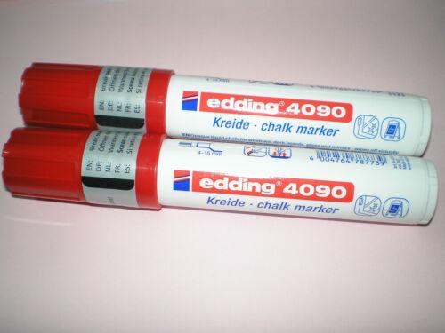 2x Edding 4090 window marker rot 4-15 mm Kreidemarker chalk f Fenster NEU