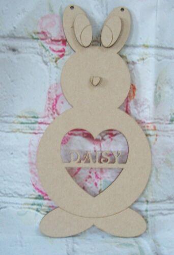 Rabbit MDF Personnalisé Nom Découpe Laser Craft Blanc plaque 250 mm Tall
