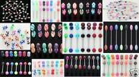 25 14g Tongue Rings Wholesale Body Jewelry Lot Barbells