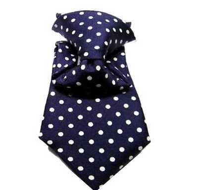 Apprensivo Cravatta Bimbo Blu Mini Man Bambino Primi Mesi Ai 18 Pois Bianco Seta Battesimo