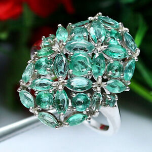 NATURAL-GREEN-EMERALD-RING-925-STERLING-SILVER-SZ-7