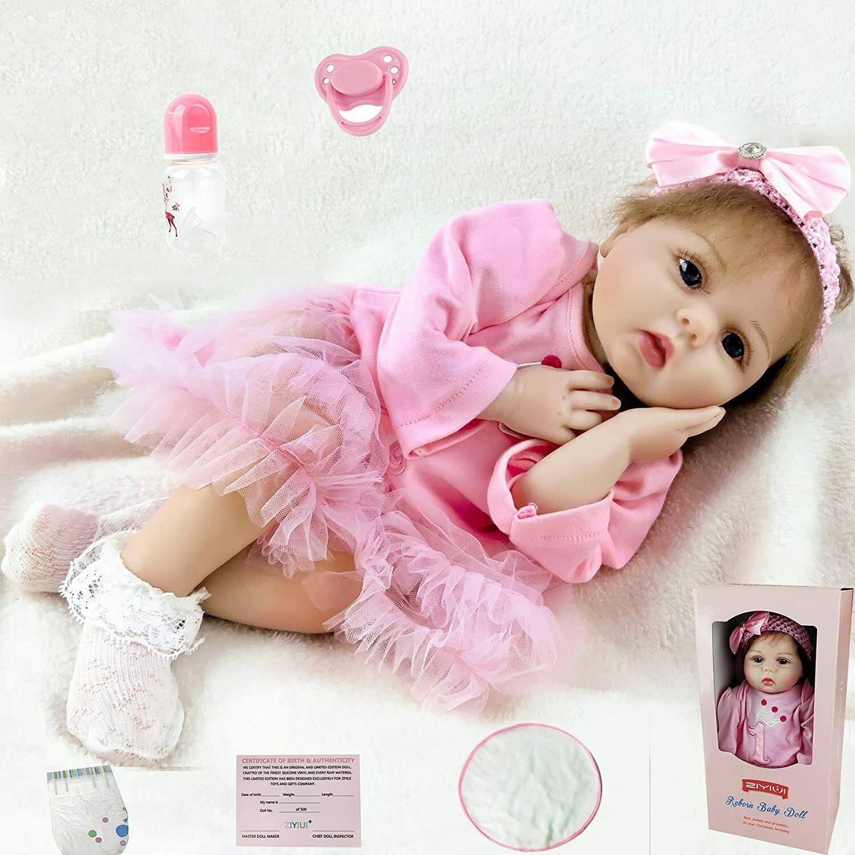 UK 22'' Reborn Dolls Soft Silicone Vinyl Realistic Doll Baby Handmade Gift Toy