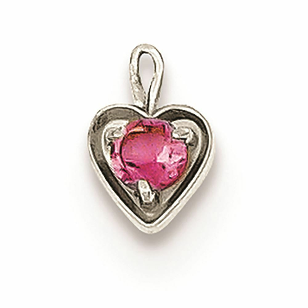 14K White gold October Synthetic Birthstone Heart Charm Pendant MSRP  119