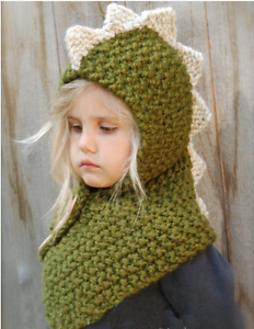 New Winter Knitted Dinosaur Hat Cap Hood Scarf For Toddler Boy Girl Baby Kids