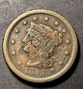 1855-Braided-Hair-Large-Cent-1c-Nice-Details-Collectible-Type-Coin-Damaged