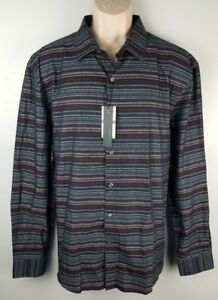 42fc44156 NWT Perry Ellis Mens L/S Button Front Shirt Sz 2XL Striped Dark ...