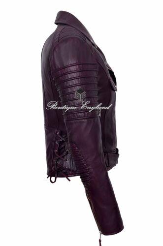 Cherry Donna Giacca in Pelle Stile Biker 100/% in pelle morbida pelle di agnello 4350