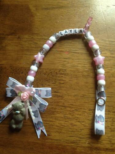 - Handmade Tatty Teddy Pink Bow  - Personalised Dummy Clips Any Name