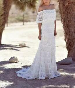 Details About Simple Full Lace Country Boho Wedding Dresses Off Shoulder Sleeveles Bridal Gown