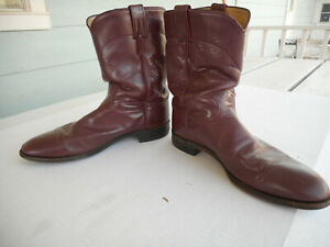 Vintage-USA-Made-Justin-Off-Purple-Leather-Dress-Boot-039-s-Size-12D-Comfort-Fit