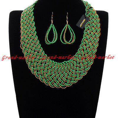 Fashion Gold Chain Resin Seed Beads Choker Chunky Pendant Bib Necklace Earrings
