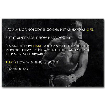 Rocky Balboa Motivational Quote Silk Poster 12x18 24x36inch Sylvester Stallone 7 Ebay