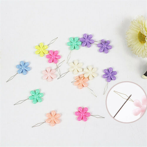6x Random Color Plastic+Metal Flower Head Wire Loop DIY Needle Threader Tool Gut
