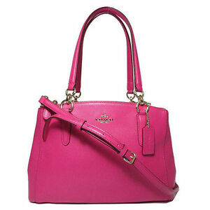 8f1e3ad0b4237 Coach F36637 Small Christie Carryall Pink Ruby Crossgrain Leather ...