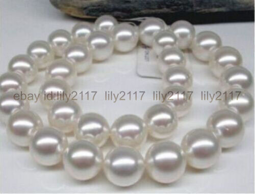 """Real énorme 18/"""" AAA 11-12 MM Perfect Round mers du sud Blanc Collier De Perles 14K"""