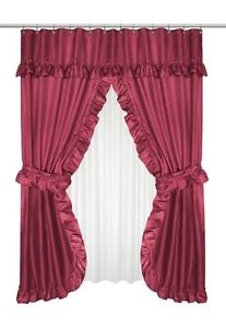 Burgundy Ruffled Double Swag Shower Curtain With Valance Tie Backs