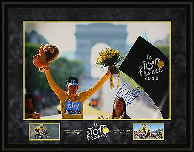 Bradley Wiggins Genuine Hand Signed Team Sky FRAMED 30X20 PHOTO TOUR DE FRANCE B