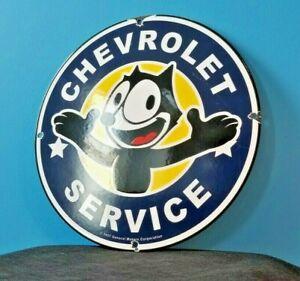 VINTAGE-FELIX-CAT-CHEVROLET-PORCELAIN-GAS-AUTO-MOTOR-TRUCKS-SERVICE-SIGN