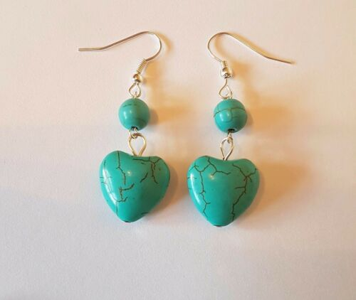 """new turquoise heart gemstone pendant necklace or earrings 20/"""" silver plated"""