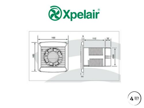 """Xpelair Slimline SL100HT AC Axial Fan 4/"""" with Humidistat and Timer"""