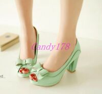 Womens Peep Toe Round Toe Mary Jane Block Pumps High Heels Dress Shoes Plus Size