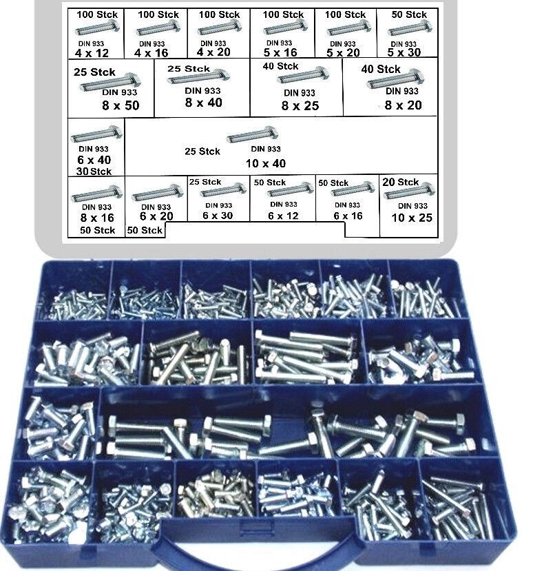 980 Sechskantschrauben M 4 - M 10  DIN 933  verzinkt  Schrauben im Koffer