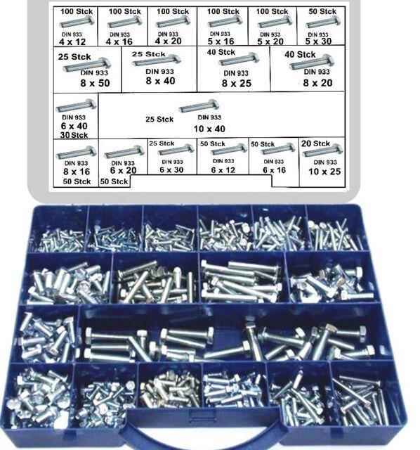 980 tlg. Sechskantschrauben Sortiment DIN 933, verz. Gewindeschrauben, Schrauben