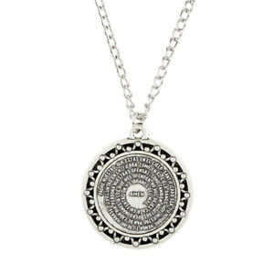Silver-Spanish-Our-Father-Prayer-Circle-Pendant-Necklace-1-1-8-034-Dia-18-034-L-Chain