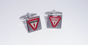 Sonstige High Quality Square Caution Alarm Fitted And Immobilised Cufflinks Feine Verarbeitung Herren-accessoires