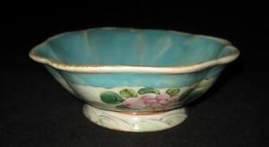 Asian-Pottery-Impressed-Mark-White-amp-Aqua-Footed-Bowl-7-3-8-034-W-by-2-3-4-034-H