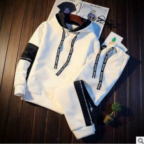 Mens 2PCS Sweater Casual Tracksuit Gym Suit Jogging Athletic Jacket+Pants 2019