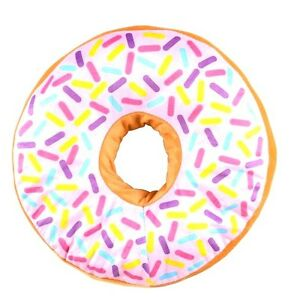 WHITE-icing-glazed-Donut-16-inch-throw-pillow-doughnut-sprinkles-blue-pink-red