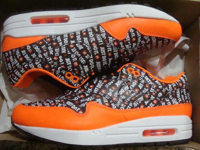 Mens Womens NikeLab Air Max 1 Just do it Black Total Orange White 875844 008 Sneakers 875844 008