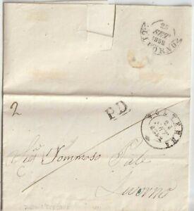 1852  PREFILATELICA CON TESTO DA  VOLTERRA X LIVORNO