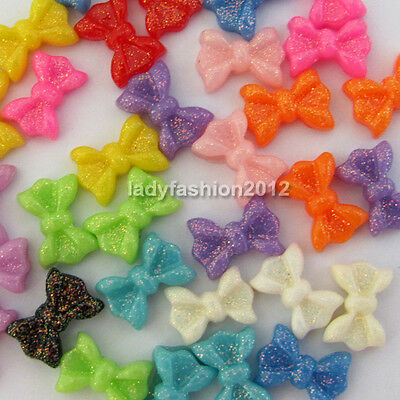 60PC Acrylic Glitter Bow tie Rhineshines For Nail Art Tips Cell Phone Decoration