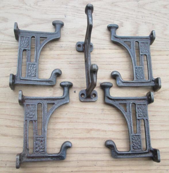 (3059) 5 X Arts And Crafts Style Cast Iron Mackintosh Coat Hook Hanger Door Rack