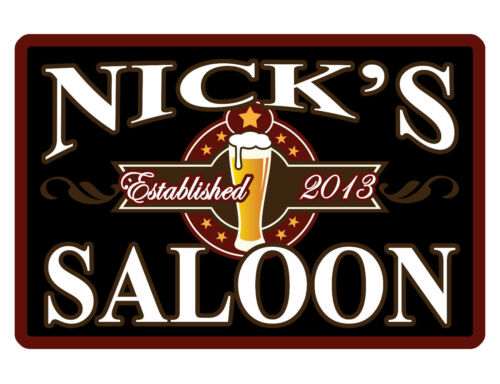 PERSONALIZED METAL SIGN YOUR NAME SALOON CUSTOM SIGN DURABLE FULL COLOR BAR1 103